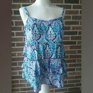 e9701c32904 Fit 4 U Two Piece Tiered Blue Floral Swim Suit